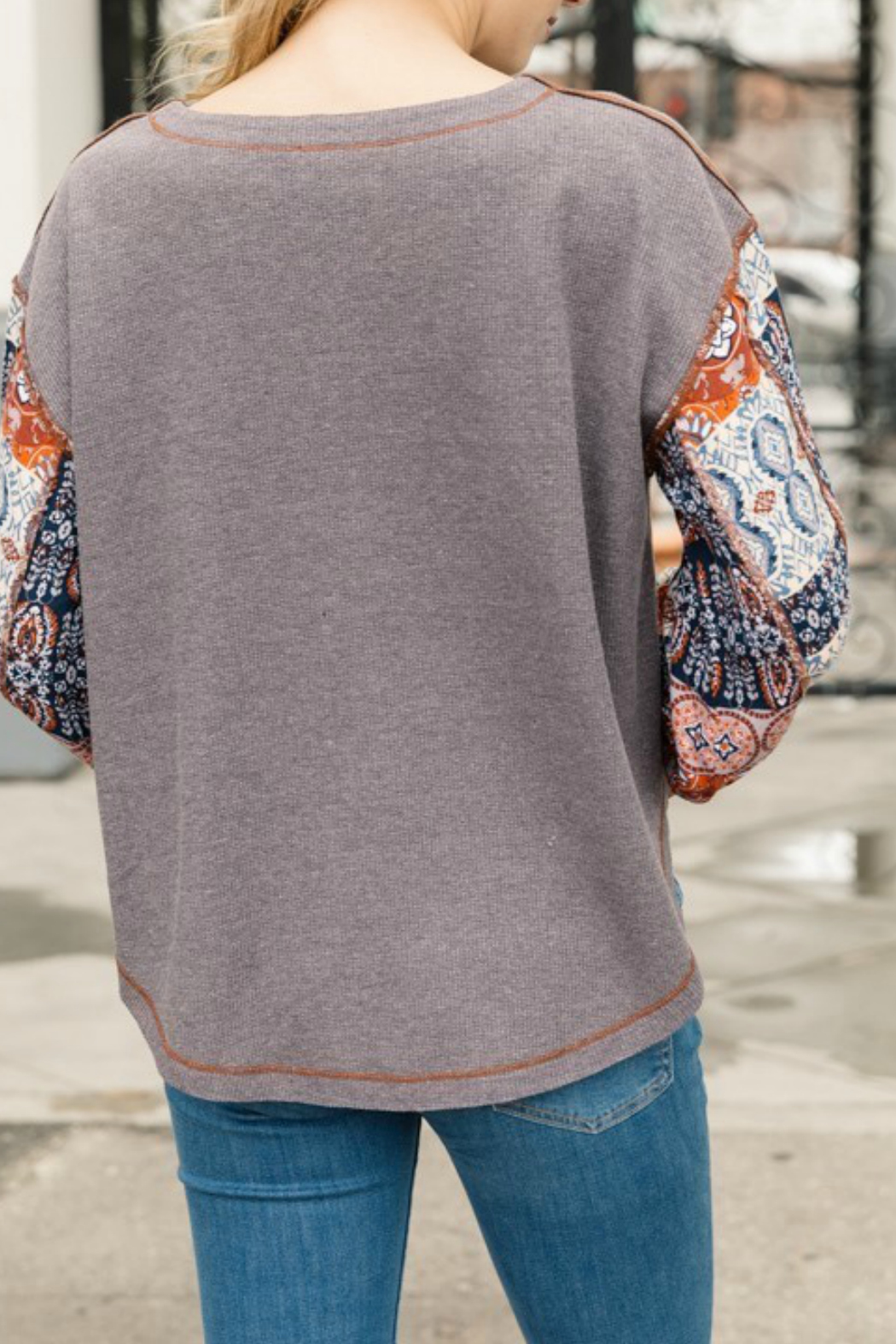 Mystree Patched look thermal top - Side Cropped Image