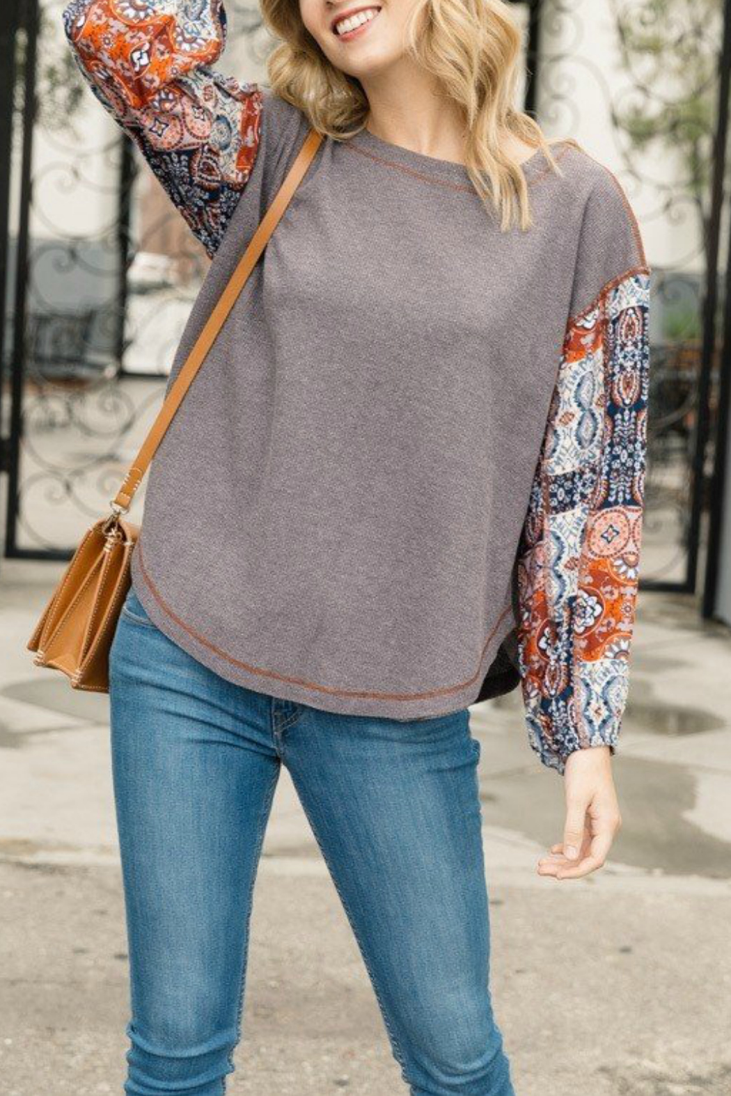 Mystree Patched look thermal top - Front Cropped Image