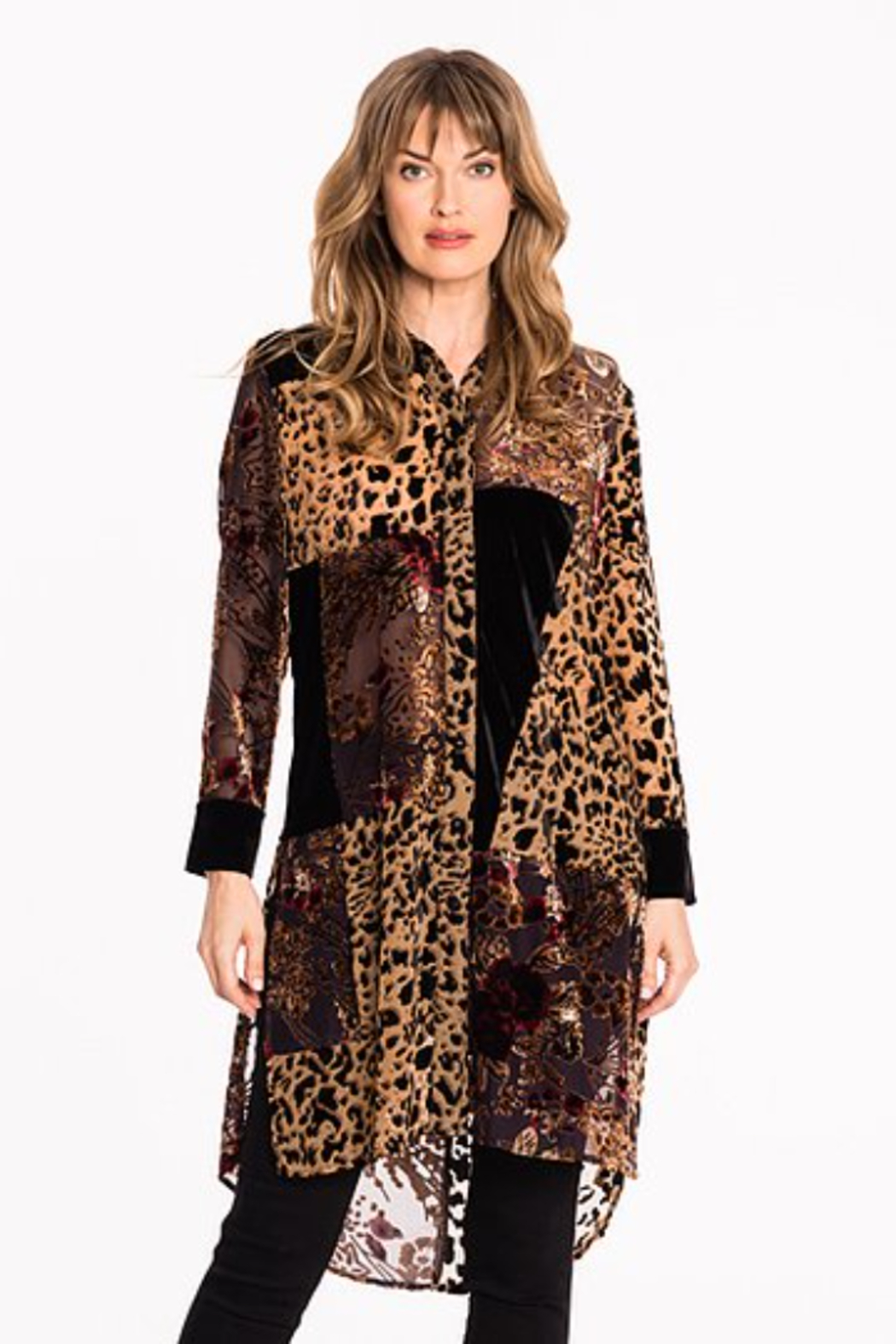 Biz PATCHWORK BUTTON FRONT TUNIC - Main Image