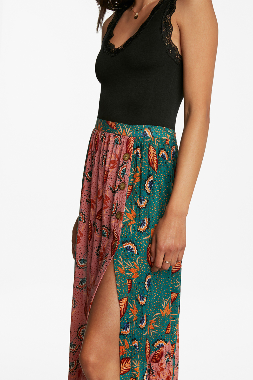 Patrons of Peace Patchwork Maxi Skirt - Front Full Image