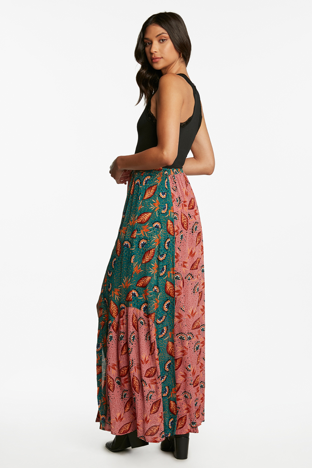 Patrons of Peace Patchwork Maxi Skirt - Side Cropped Image