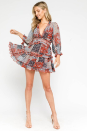 Olivaceous  Patchwork Open Back Dress - Other