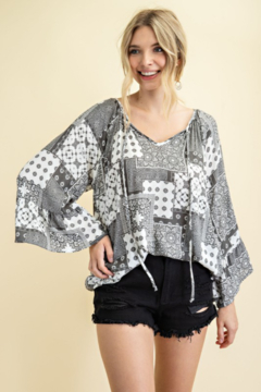 143 Story Patchwork Print V Neck Top - Product List Image