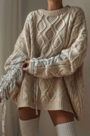 Avantlook Patchwork Sleeves With Lace Up Pullover Sweater - Product Mini Image