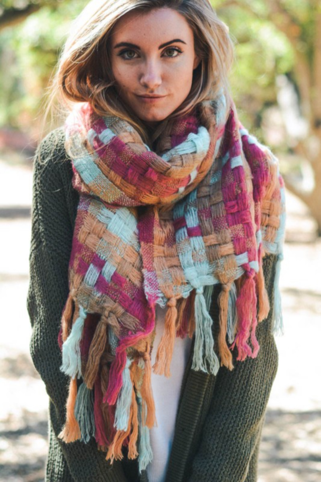 Leto Patchwork Woven Tassel Scarf - Front Cropped Image