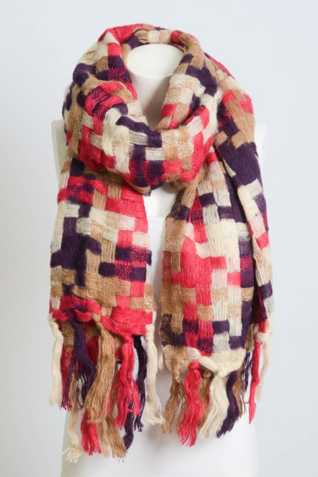 Leto Patchwork Woven Tassel Scarf - Front Full Image
