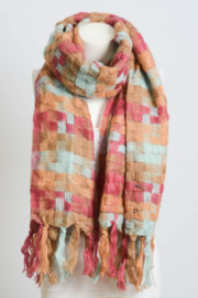 Leto Patchwork Woven Tassel Scarf - Front full body
