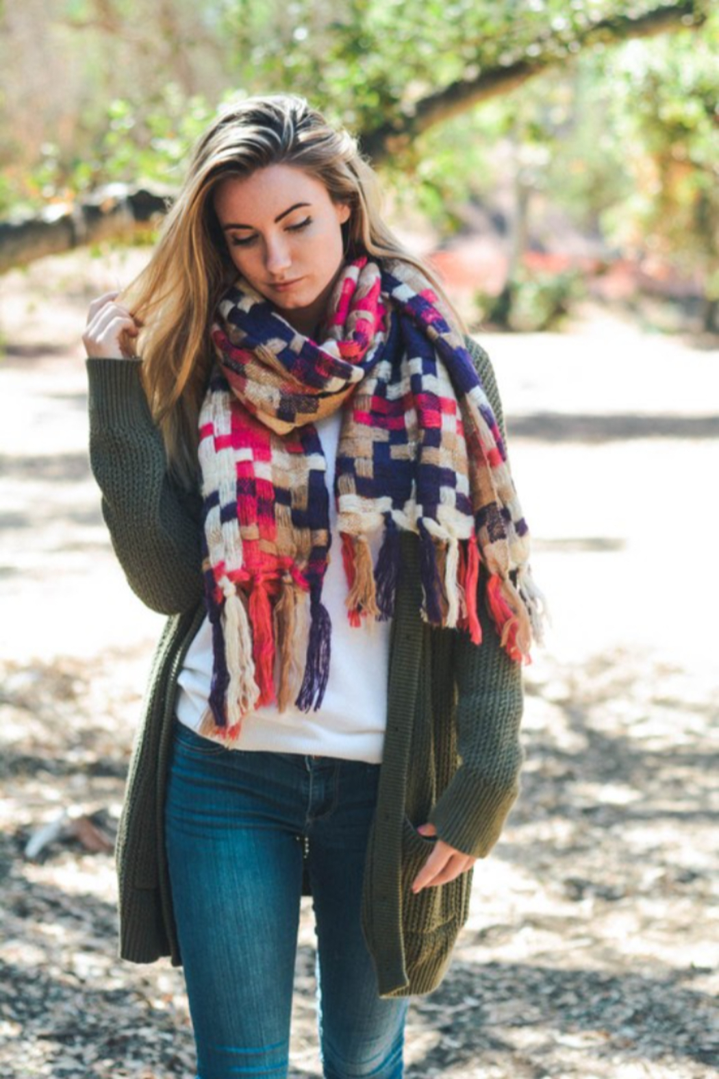 Leto Patchwork Woven Tassel Scarf - Main Image