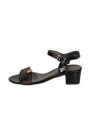 Lady Doc Patent-Black Block-Heel Sandals - Front cropped