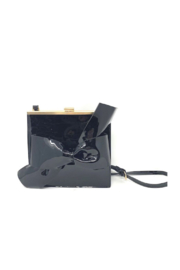 INZI  Patent Leather Bow Handbag - Front cropped