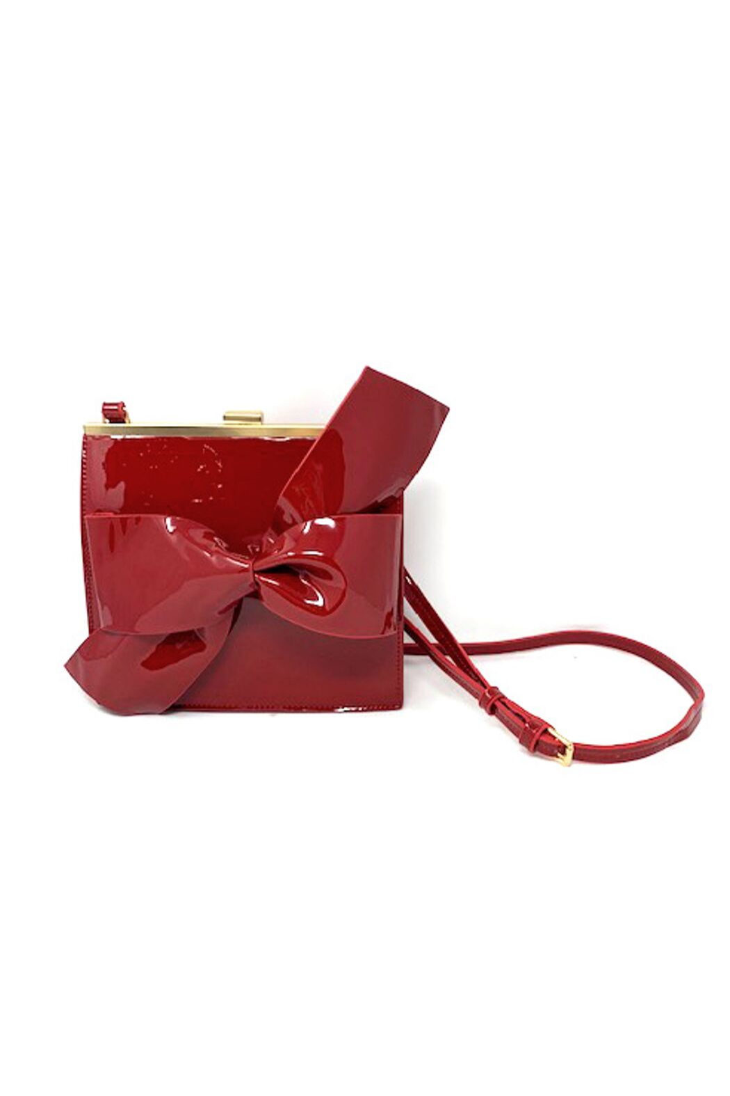 INZI  Patent Leather Bow Handbag - Front Cropped Image