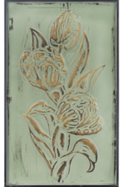 Ganz Patina Green & Gold Embossed Floral Wall Panels - Product Mini Image