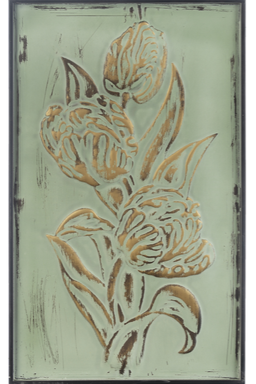 Ganz Patina Green & Gold Embossed Floral Wall Panels - Front Cropped Image