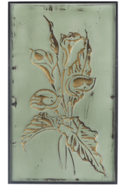 Ganz Patina Green & Gold Embossed Floral Wall Panels - Front cropped