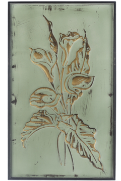 Ganz Patina Green & Gold Embossed Floral Wall Panels - Alternate List Image