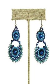 Patricia's Presents Beaded Blue Earrings - Front cropped