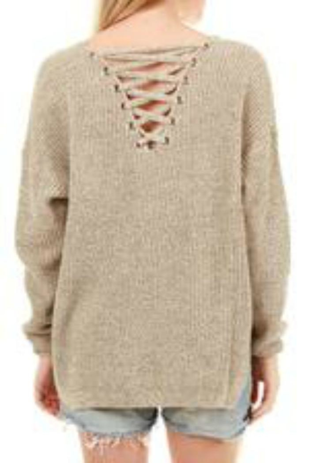 61f17b363af Patricia s Presents Beige Laceup Sweater from Connecticut — Shoptiques