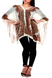 Patricia's Presents Beige Paisley Poncho - Product Mini Image