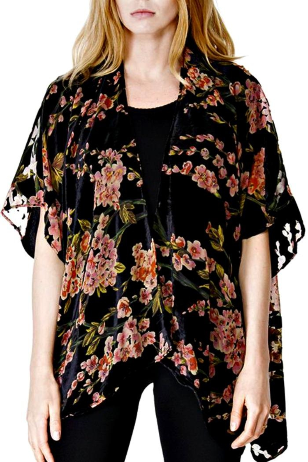 Patricia's Presents Black/blossom Burnout Jacket - Front Cropped Image