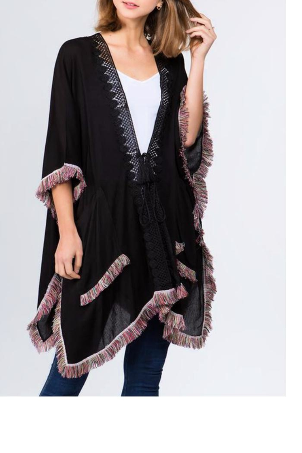 Patricia's Presents Black Fringed Kimono - Front Cropped Image