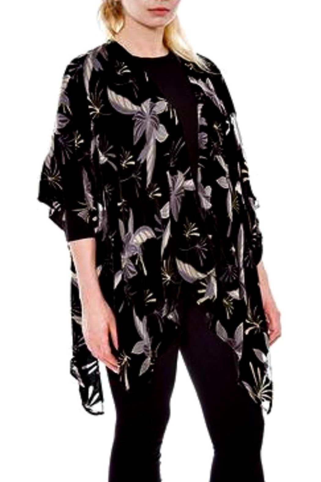 Patricia's Presents Black/white  Velvet Kimono - Main Image