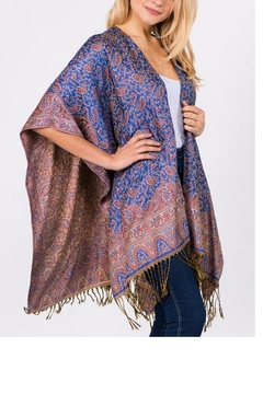 Patricia's Presents Blueish Paisley Ruana - Alternate List Image
