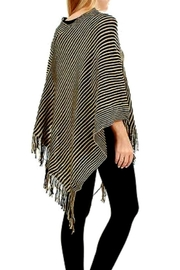 Patricia's Presents Camel/black Fringed Poncho - Product Mini Image