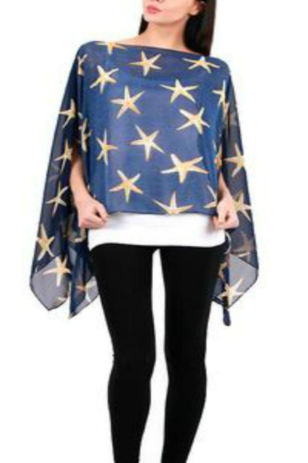 Patricia's Presents Navy Starfish Cape - Front Cropped Image