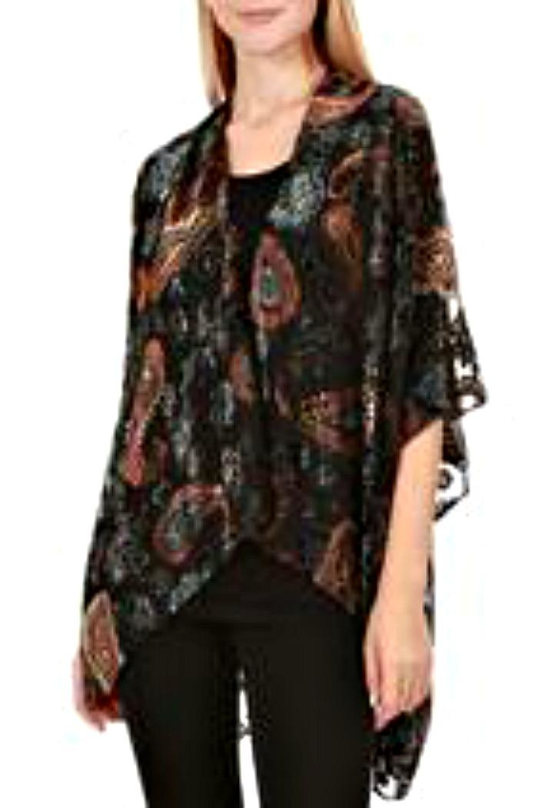 Patricia's Presents Paisley Burnout Kimomo - Front Cropped Image
