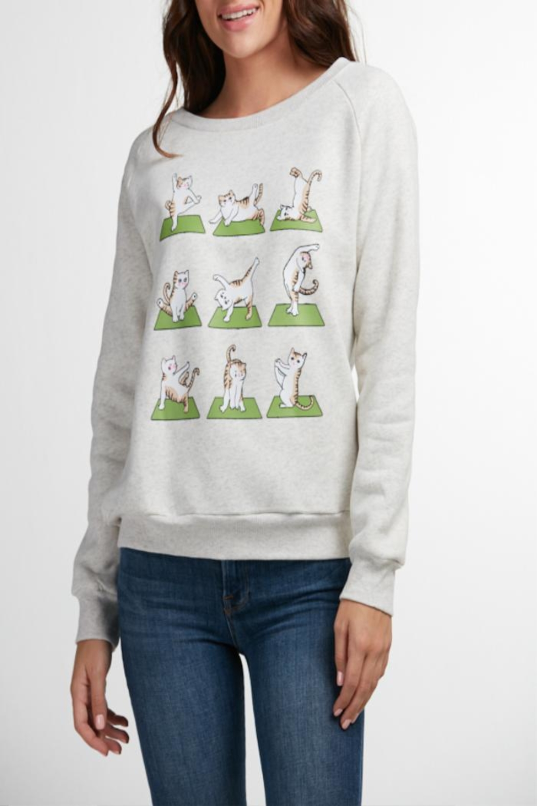 Patricia's Presents Yoga Cat Sweatshirt - Front Cropped Image