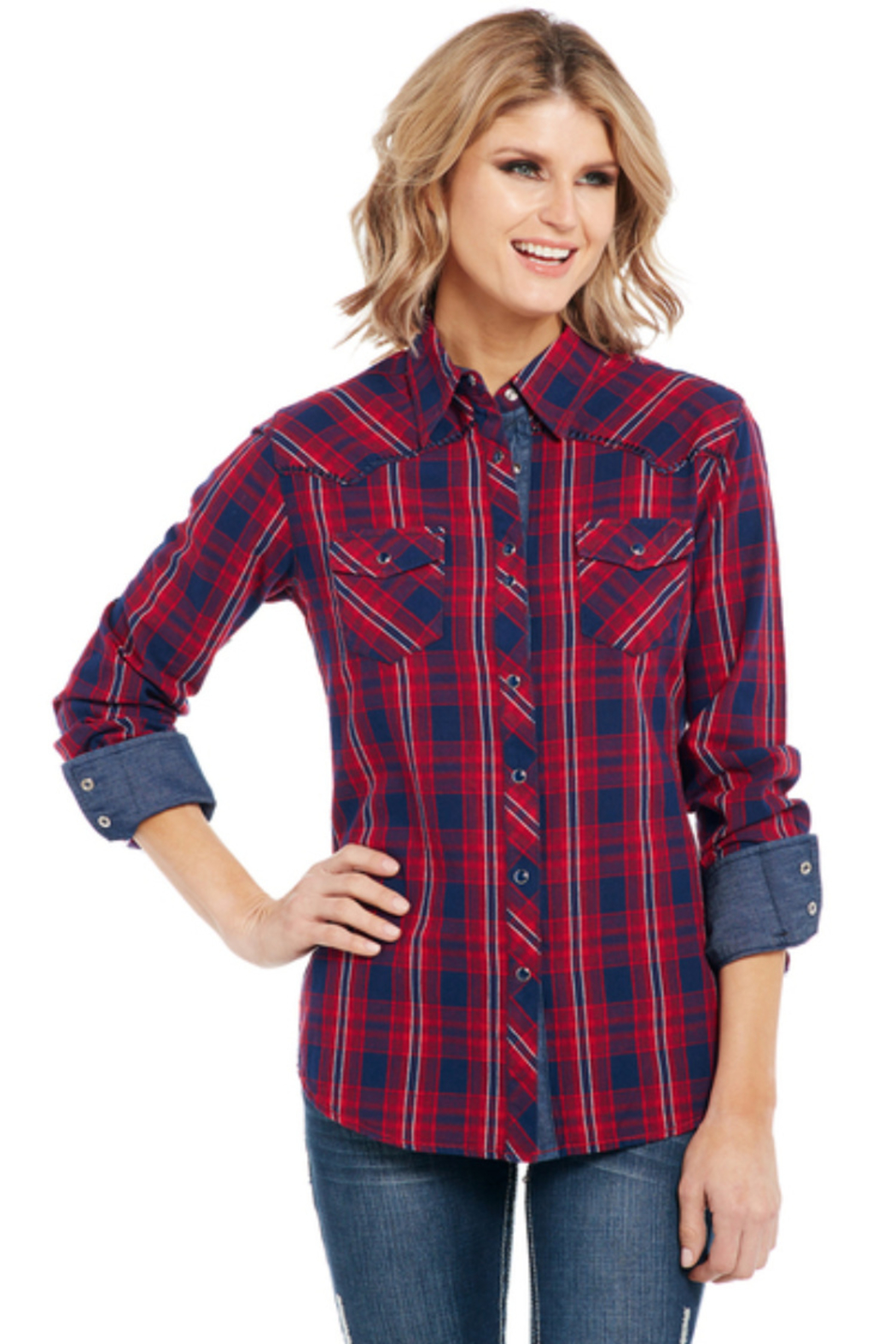 Cripple Creek Patriot Plaid Shirt - Front Cropped Image