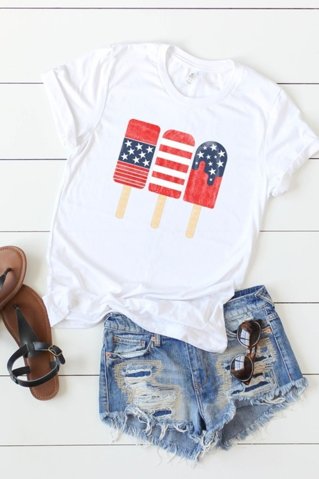 kissed Apparel Patriotic Popsicles graphic tee - Main Image
