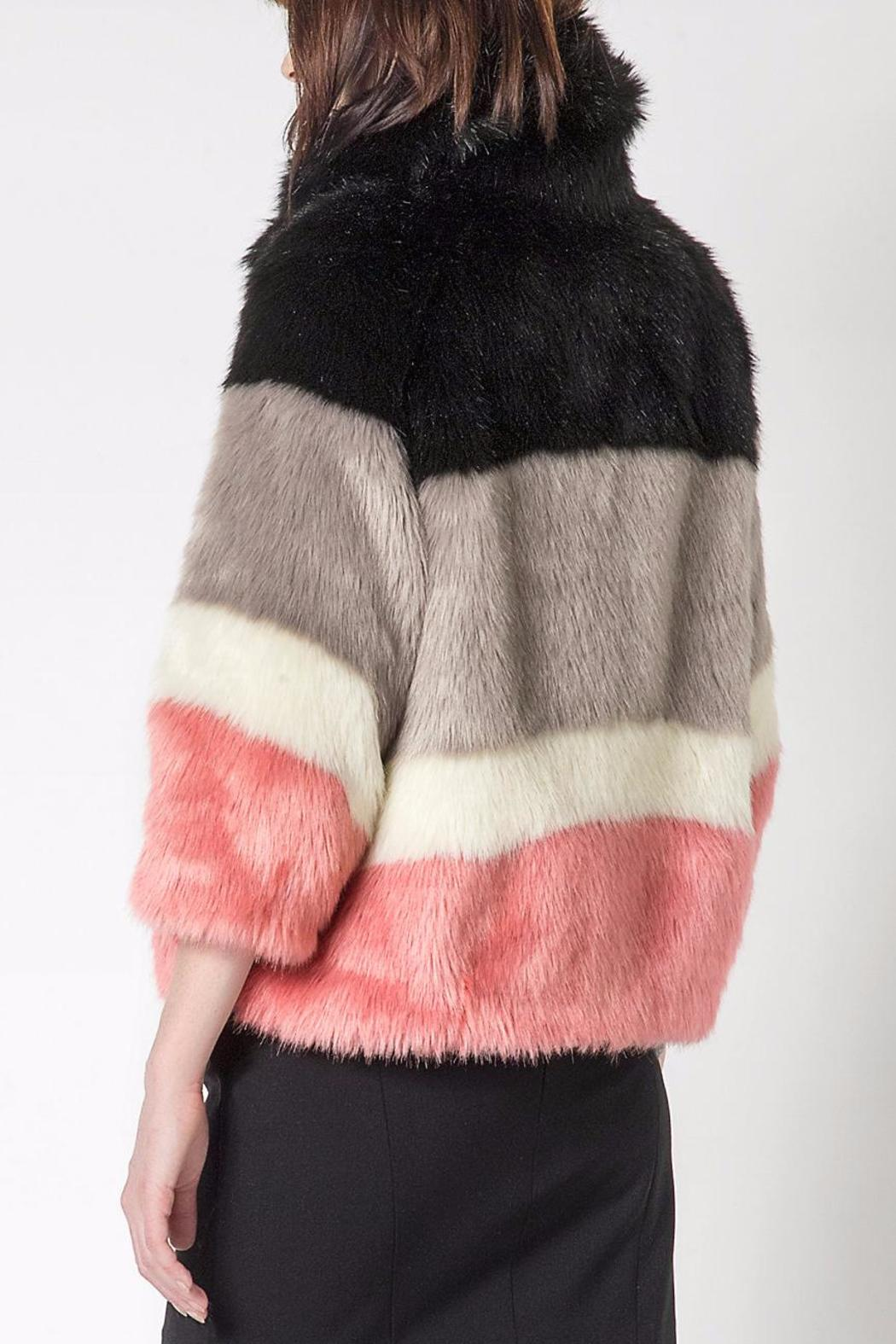 Patrizia Pepe Striped Faux Fur Coat From East Ridling Of