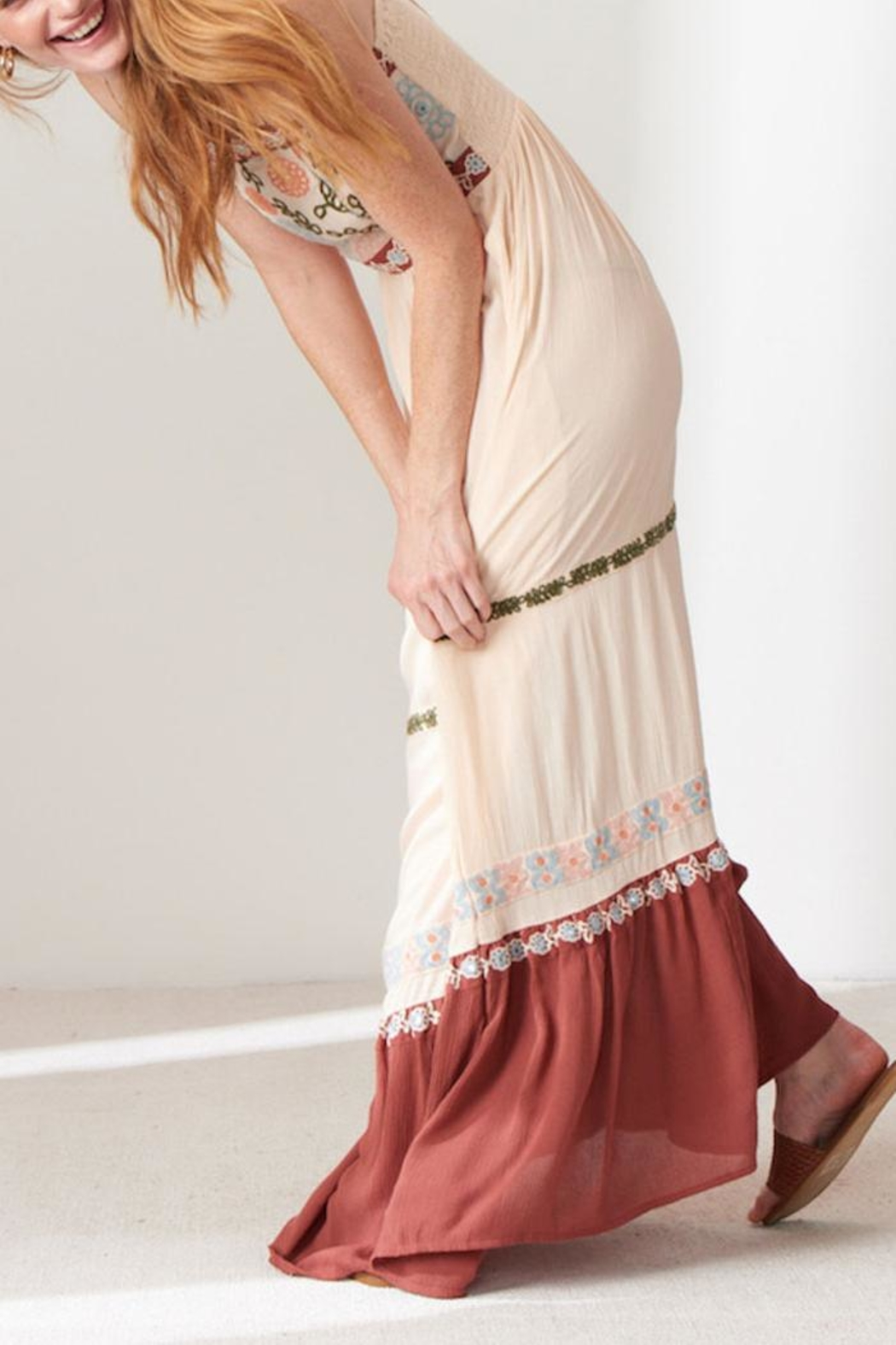 Patrons of Peace Embroidered Maxi Dress - Side Cropped Image
