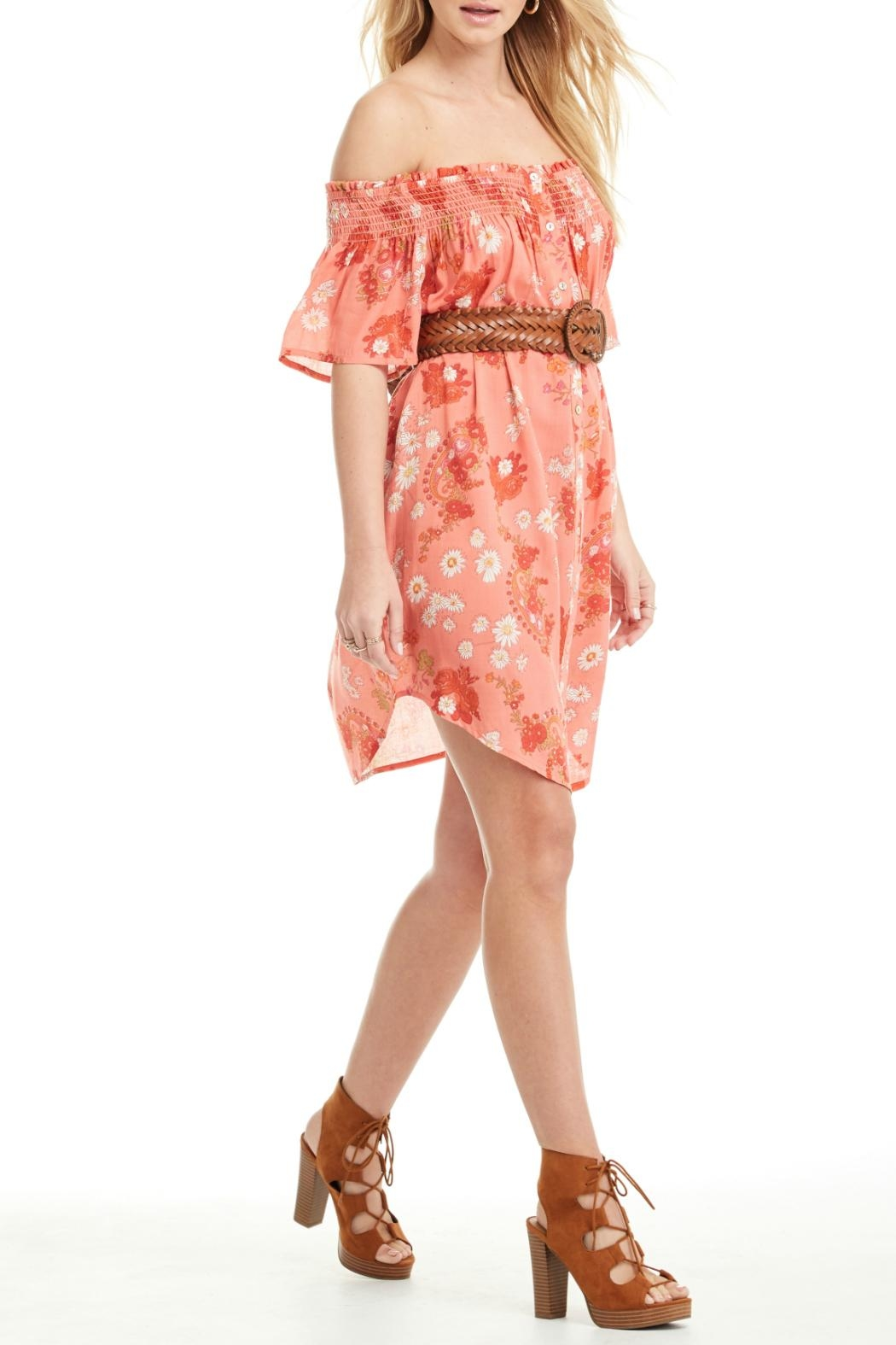 Patrons of Peace Off Shoulder Dress - Side Cropped Image