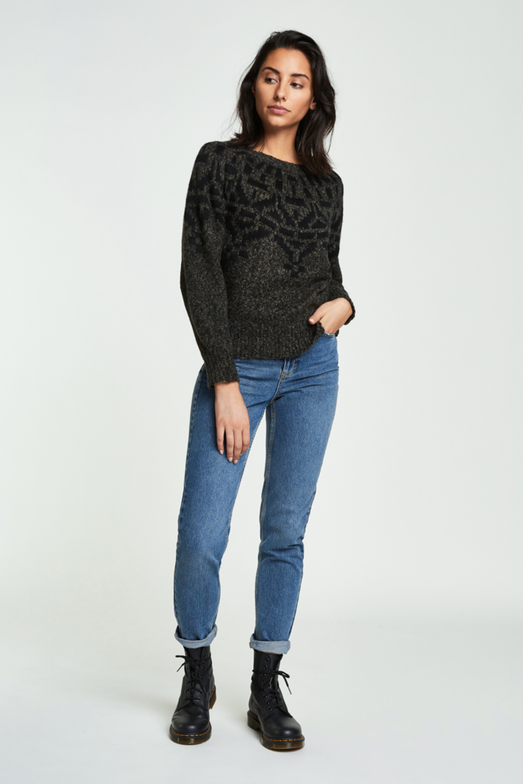 Backdrop Fashion Pattern Crew Neck Pullover - Main Image