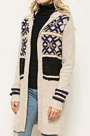 Hem & Thread Pattern Hoodie Cardigan - Product Mini Image