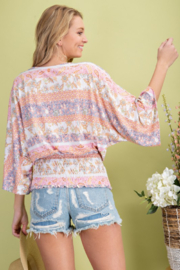 143 Story Pattern Surplice Kimono Top - Front full body