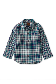 Tea Collection Patterned Button Up Baby Shirt - Front cropped