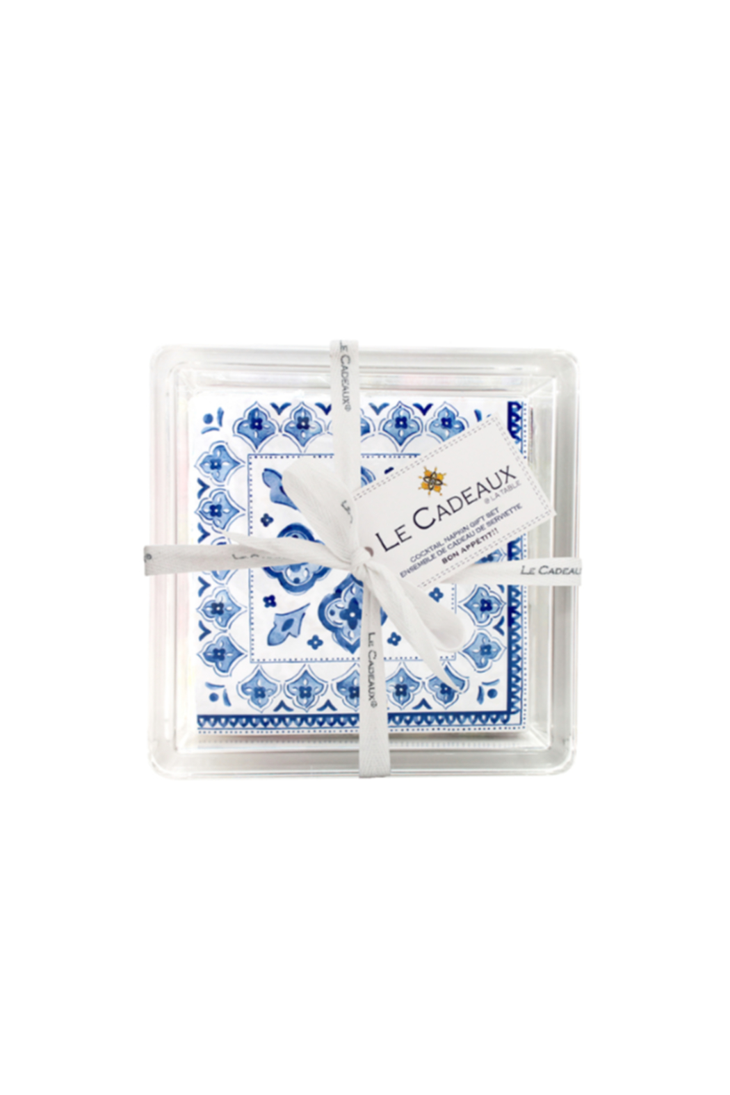 Le Cadeaux PATTERNED COCKTAIL NAPKINS WITH ACRYLIC TRAY - Front Cropped Image