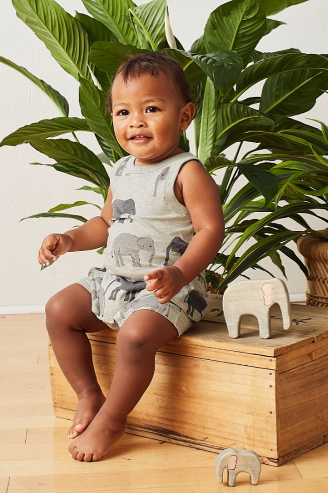 Tea Collection Patterned Tank Romper - Front Full Image