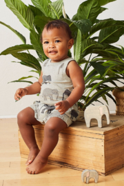 Tea Collection Patterned Tank Romper - Front full body