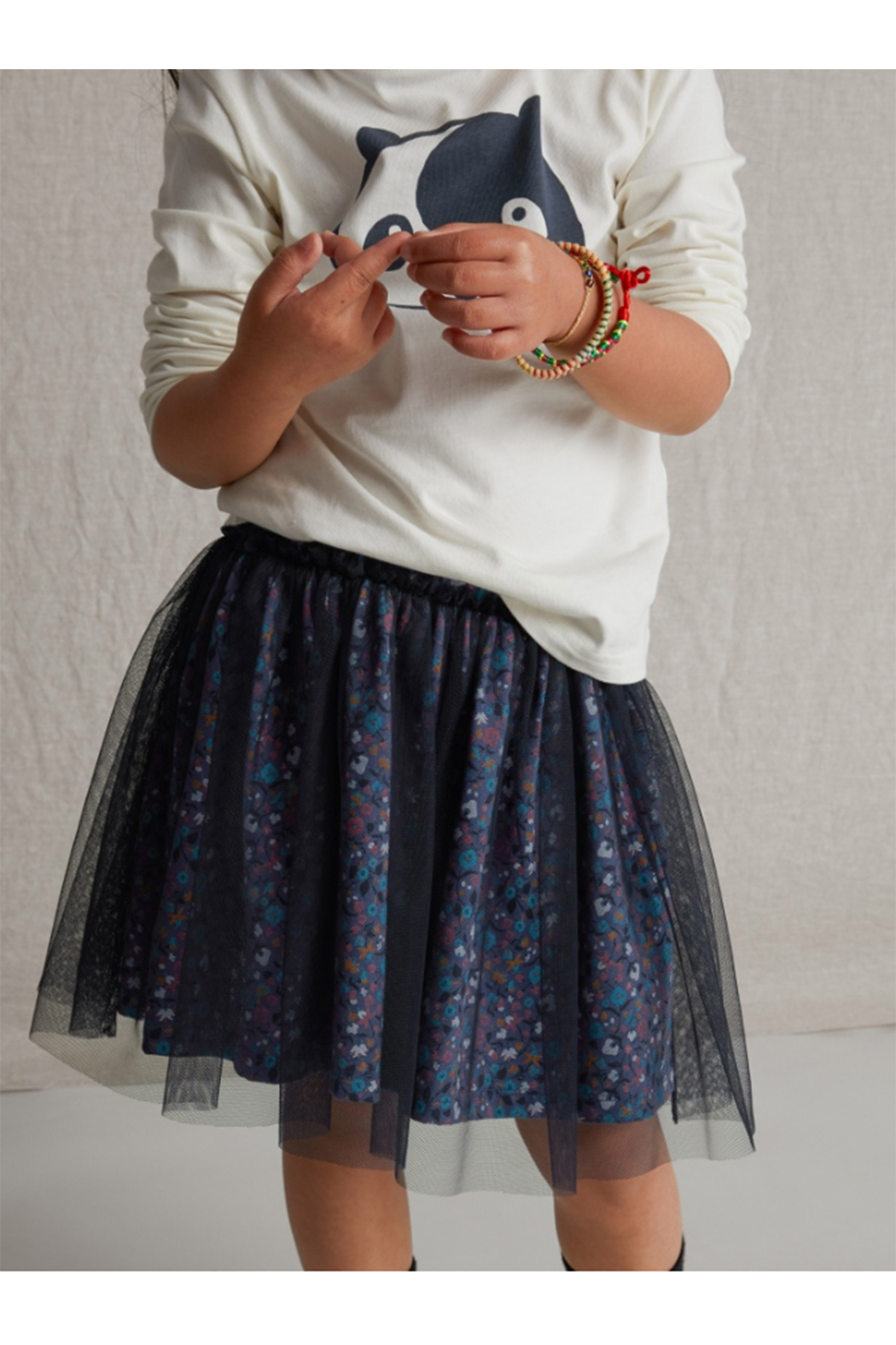 Tea Collection Patterned Tulle Twirl Skirt - Front Full Image