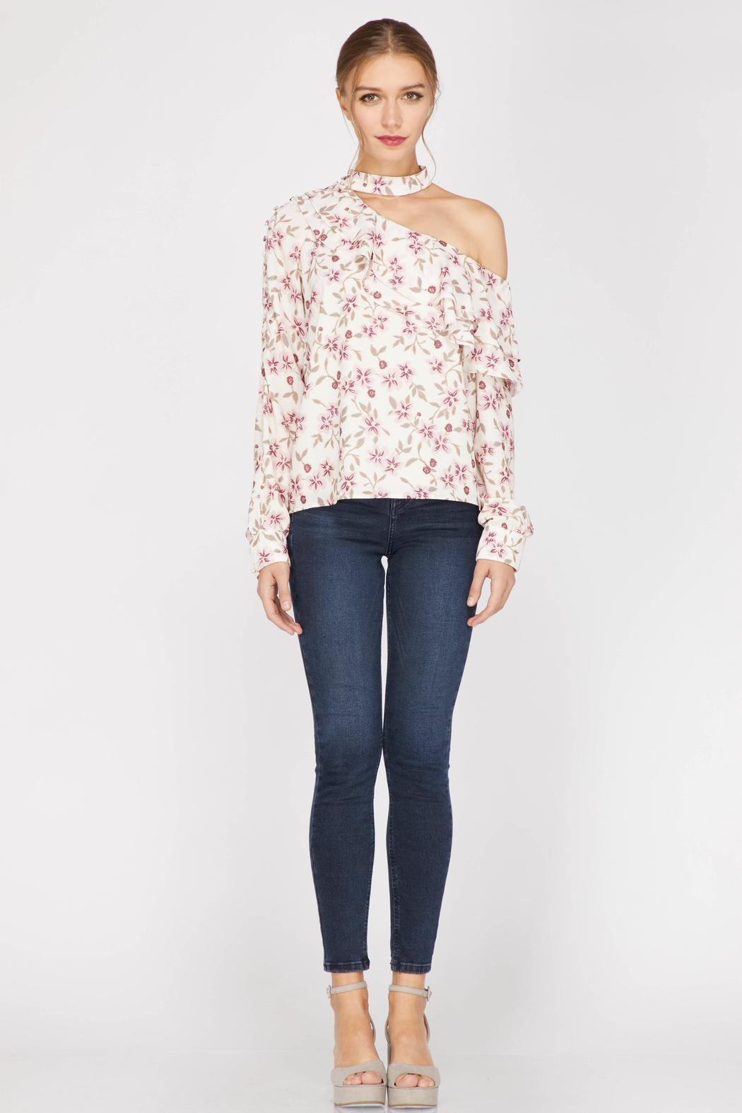Adelyn Rae Patyon One-Shoulder Blouse - Main Image