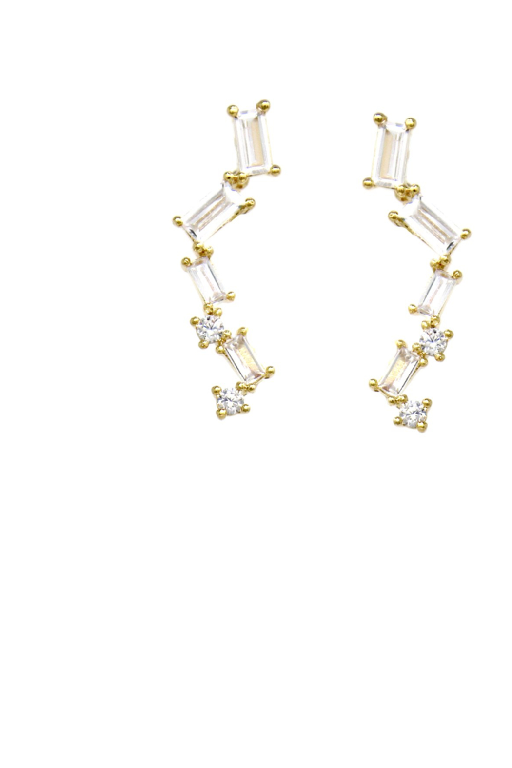 US Jewelry House Pave Bar Gold Dipped Earrings - Main Image