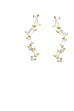 US Jewelry House Pave Bar Gold Dipped Earrings - Product List Image