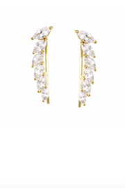 US Jewelry House Pave Gold Dipped Earrings - Front cropped