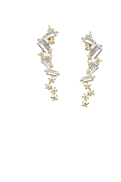US Jewelry House Pave Gold Dipped Stud Earrings - Product List Image