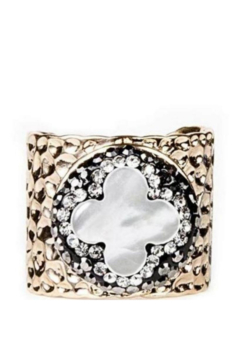 Whitley V Pave Trimmed Mother of Pearl Quatrefoil Ring - Product List Image