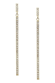 US Jewelry House Paved Bar Earrings - Front cropped